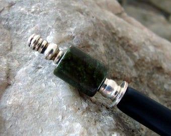 CIJ SALE Hair Stick Green Brown Gemstone Sterling Silver Japanese Kanzashi Hair Pin Magnesite Hairstick Geisha Hair Sticks Hair Chopsticks P