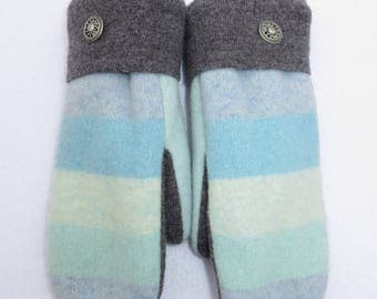 Felted Wool Sweater Mittens // Fleece Lined // Light Blue Stripes with Gray Accent