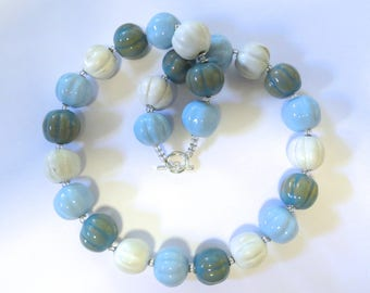 Kazuri Bead Necklace, Fair Trade Beads, Ceramic Necklace, Blue and White Kazuri Necklace