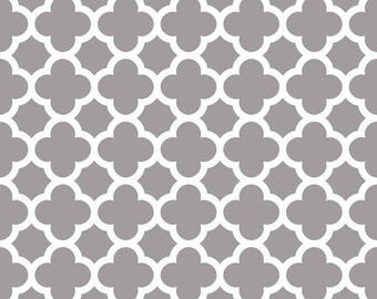 Laminated Cotton aka Oilcloth heavyweight SPLAT MAT, Gray and ivory quatrefoil, choose your size