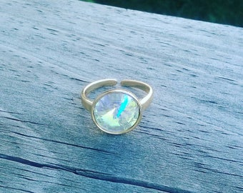 Clear Swarovski Rivoli Adjustable Ring