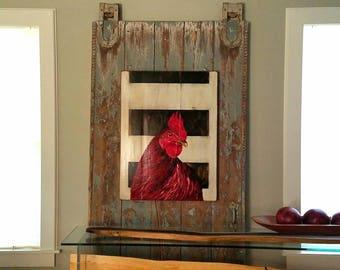 Big Red original acrylic painting on repurposed wood