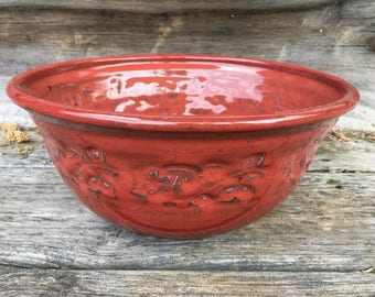 Large Red Stoneware Bowl