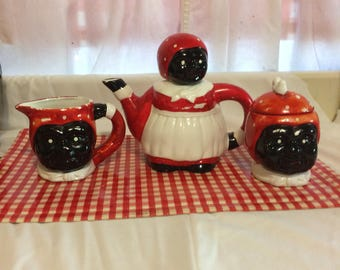 Vintage Black Americana Mammy Tea Set