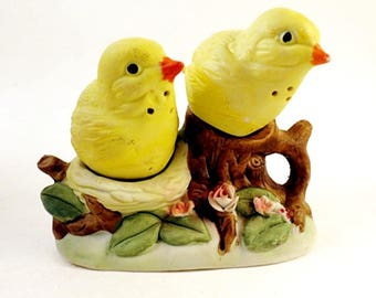 Vintage Yellow Finch Birds on a Branch Salt and Pepper Shakers Bisque China Retro Ceramic Figural