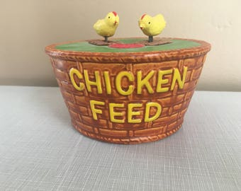 Vintage Chicken Feed Bank - with moving chicks