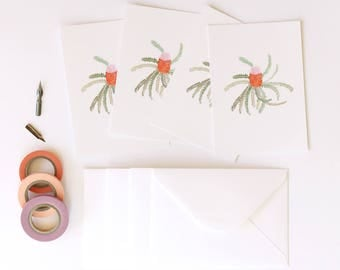 Acorn Banksia Illustrated 4 Pack - A6 Postcards With Envelopes