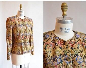 25% off Storewide // Vintage 1980s PORTS metallic brocade blazer