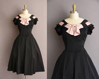 vintage 1950s Reich Original black full skirt party dress Large pink satin bow 50s dress