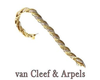 ON SALE Vintage braided gold bracelet 18k yellow gold set brilliant cut diamonds 6.30 carats signed Van Cleef & Arpels