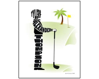 Personalized Golfer Silhouette Print, 8x10 Golfing Name Art, Gift for a Male Golfer