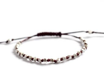 SALE Silver beads hand knotted Chunky faceted on Maroon irish linen cord