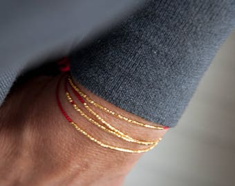 SALE Delicate bracelet gold or silver on red silk