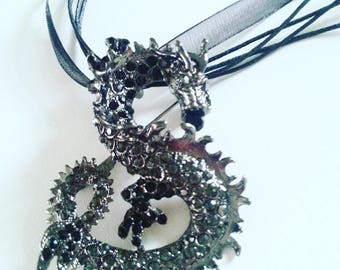 Black Dragon, Night Dragon, Necklace, Brooch, dragon necklace,brooch, pendant,game of thrones, by NewellsJewels on etsy