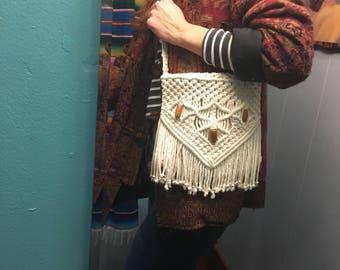 Vintage handmade 60s 70s macrame crochet tassel  fringe envelope shoulder bag purse // Woodstock boho hippie gypsy festival // spring 2018