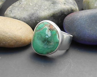 Candelaria turquoise ring, genuine turquoise, green turquoise, cocktail ring, statement ring, gemstone ring, sterling turquoise ring