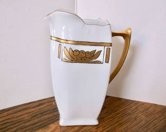 Hand Painted  Creamer Gold Trim