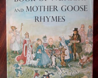 1950s Marguerite de Angeli's Book of Nursery and Mother Goose Rhymes -vintage illustrations, poetry