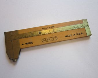 vintage Stanley wood and brass caliper - No. 136R - 4 inch wood and brass caliper, vintage tool