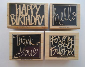 4 rubber stamps - VIVID GREETINGS - Stampin Up 2000 - used rubber stamps
