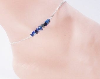 CIJ SALE Lapis Lazuli Anklet. Sterling Silver and Blue Stone Anklet. Royal Blue Gemstone Anklet. Ankle Bracelet. Minimalist Jewelry