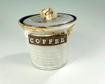 Pottery coffee jar, ceramic coffee jar, white ceramic coffee jar, stoneware coffee jar with lid and rock knob, pottery COFFEE canister
