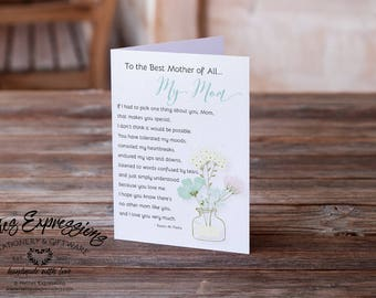 To the best Mother of all, Birthday Card, Greeting Card, Mom, Card, Birthday Card, Happy Birthday Card, Mother Birthday Card, Mother's Day