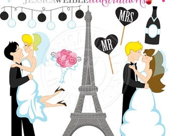 SALE Paris Wedding Digital Clipart