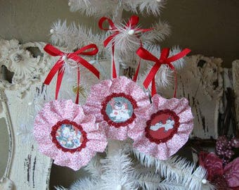 vintage snowman ornaments red and white christmas home decor retro cute snowman tags gifts for Christmas glittered ornaments