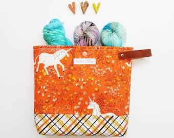 Small Knitting Bag, Unicorn Orange Bag, Yarn Project Bag,  Sock Bag, Sock Project Bag, Hat Project Bag,