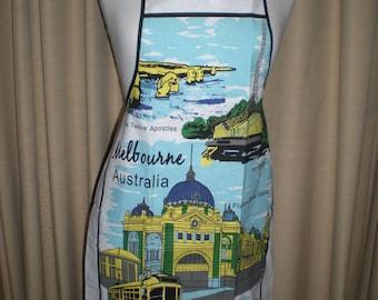 Australian souvenir Melbourne design apron Great overseas gift for family and friends Cotton fabric