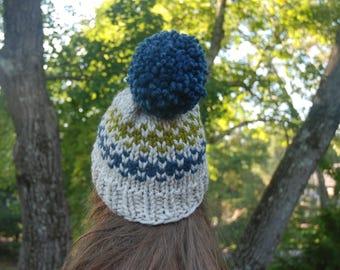 Fair Isle Knit Hat, Fair Isle Hat, Knit Hat, Women's Knit Hat, Men's Knit Hat, Green and Blue Hat, Hand Knit Hat, Knit Hat, Chunky Knit Hat