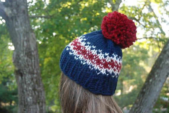 Red White Blue Fair Isle Knit Hat Fair Isle Hat Navy Knit