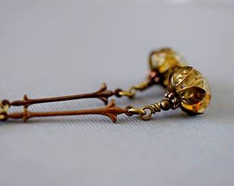 Honey Gold Topaz Czech Glass Earrings Topaz Earrings Honey Dangles Art Nouveau Long Earrings Vintage Style Earrings Antique Brass Drops