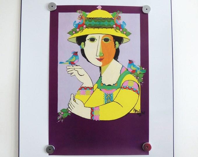 Bjorn Wiinblad print poster Tapestry Girl Vintage Danish modernist print 1961