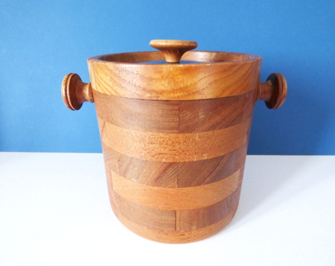 Teak Ice bucket Viners Vintage Modernist Retro 1970's Classic