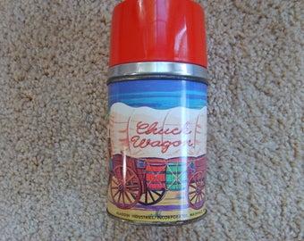 Chuck Wagon Vintage Metal Aladdin Thermos, Chuck Wagon