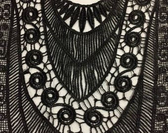 Oversized Black Venice Applique Lace Dress Bodice Neckline Embellishment Renaissance Applique Box D ST