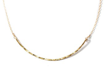 "Curved Bar Necklace - Gold Filled Curve Arc Collar Necklace / Sterling Silver, Rose Gold Choker / Simple Everyday - ""Scenic Route Necklace"""