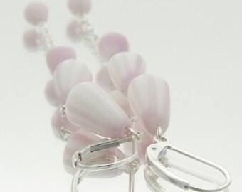SALE Dusty Pink  Long Dangle Earrings , Porcelain  Sterling Silver Drop Earrings, Femine Elegant Unusual Earrings  , Pink  Porcelain Flowers
