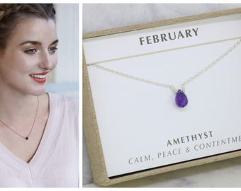 Dainty amethyst necklace jewelry, February birthday gift, February birthstone jewellery for girlfriend gift - Natalie