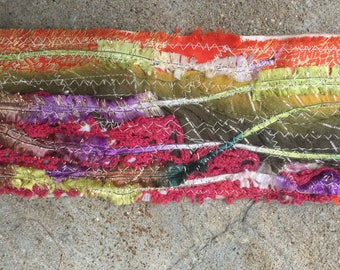 Bohemian Fabric Fusion Gypsy Hair Wrap Bright Rainbow Tones Festival Long Or Short Hair Head Scarf Vintage Lace