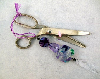 Scissors Fob OOAK Needle Felt Beads Purples, Pincushion, Craft Tool Accessory, Shears ID, Quilting, Sewist Gift