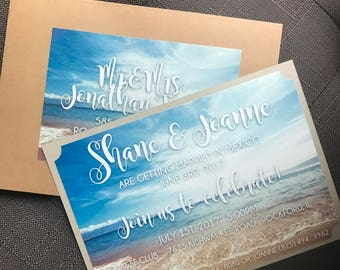Beach themed casual wedding invitation