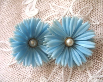Vintage Soft Plastic Earrings ~ Blue ~ Clip On
