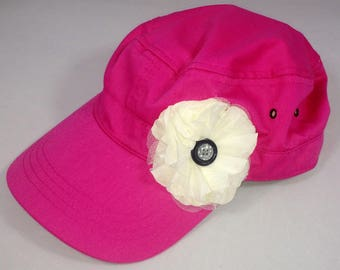 Hot pink army hat with layered cream flower and vintage buttons