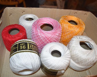 DESTASH /// 7 large balls of crochet thread, White, red and variegated
