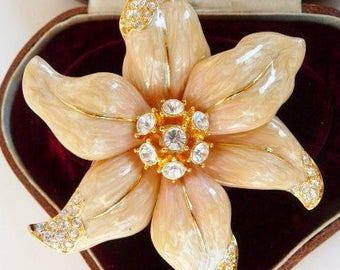 Nolan Miller enamel floral brooch pin | hand enameled Swarovski rhinestone brooch | Nolan Miller Glamour Collection | 1980s 1990s vintage