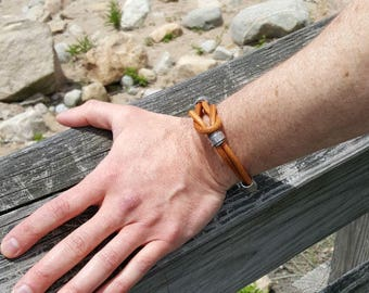 Mens Leather Bracelet Gift for Dad Pewter Surfer Surf