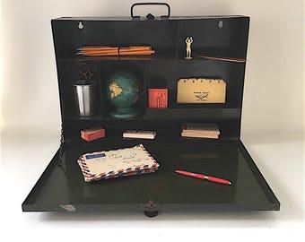 Vintage Army Green Metal Storage Box, Shelf, Cabinet, industrial storage